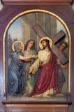 de 4de Posten van het Kruis, Jesus ontmoet Zijn Moeder royalty-vrije stock fotografie