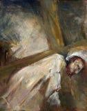 de 3de Posten van het Kruis, Jesus valt de eerste keer royalty-vrije stock foto