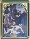 11de Posten van het Kruis, Kruisiging Stock Fotografie