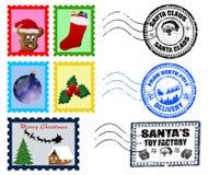 De Poststempels en de Zegels van Kerstmis Stock Fotografie