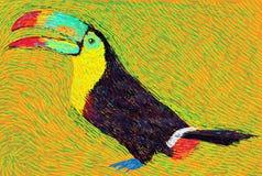 De postvogel van de impressioniststijl gekleurde toekan Stock Foto