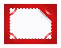 De postzegel is op een rode achtergrond. Stock Foto