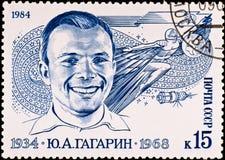 De postzegel toont Yuri Gagarin Stock Foto's