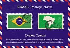 De postzegel van Brazilië, uitstekende zegel, de envelop van de luchtpost Stock Afbeeldingen