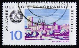 De postzegel van Ddr Duitsland toont slepenen-Neustadt stad, circa 1969 Royalty-vrije Stock Afbeelding