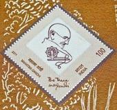 De postzegel van Gandhi van Mahatma op Khadi Royalty-vrije Stock Afbeelding
