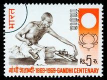 De Postzegel van Karamchand Gandhi van Mohandas Stock Foto's