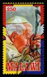 De Postzegel van pausjohannes paulus ii Stock Foto