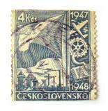 De Postzegel van Tsjecho-Slowakije Stock Afbeeldingen
