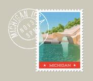 De postzegelontwerp van Michigan Vector illustratie Royalty-vrije Stock Foto's
