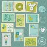 De Postzegels van de Jongen van de baby Stock Afbeeldingen