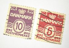 De postzegels van Denemarken Stock Foto