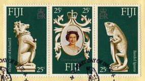 De Postzegels van het koninginelizabeth ii Zilveren herdenkingsfeest royalty-vrije stock fotografie