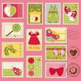 De Postzegels van het Meisje van de baby Stock Foto