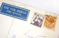 De postzegels van Italië op envelop Stock Foto's