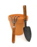 De Pot en de Hulpmiddelen van het terracotta royalty-vrije stock foto's