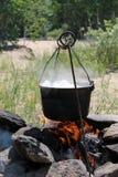 De pot op een brand Royalty-vrije Stock Fotografie
