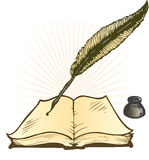 De Pot van de Inkt van de schacht en de Open VectorIllustratie van het Boek Stock Foto