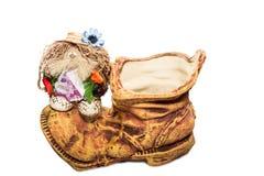De pot van de kleibloem met een amulet Stock Foto