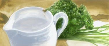 De pot van de melk met kruiden Stock Foto's