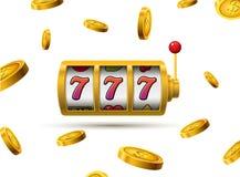 De potconcept 777 van gokautomaat gelukkig sevens Vectorcasinospel Gokautomaat met geldmuntstukken De pot van de fortuinkans Stock Foto's