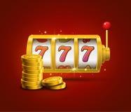 De potconcept 777 van gokautomaat gelukkig sevens Vectorcasinospel Gokautomaat met geldmuntstukken De pot van de fortuinkans Royalty-vrije Stock Afbeelding