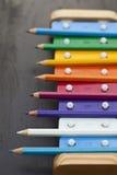 De potloden en de klokken van de school Royalty-vrije Stock Afbeeldingen