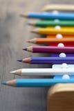 De potloden en de klokken van de school Royalty-vrije Stock Foto