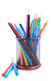 De potloden en de pennen van de kleur Stock Foto