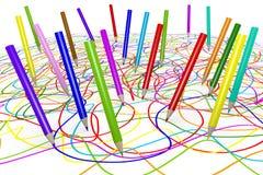 De potloden en het gekrabbel van de kleur Royalty-vrije Stock Foto's