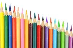 De potloden van de de stijlkleur van de lay-outgrafiek op witte achtergrond worden geïsoleerd die Stock Foto