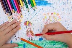De potloden van de kinderen` s tekening Stock Afbeeldingen