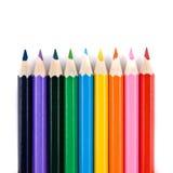 De potloden van de kleur die op wit worden geïsoleerde Stock Foto's