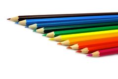 De potloden van de kleur die op wit worden geïsoleerds Royalty-vrije Stock Afbeeldingen
