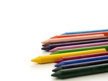 De potloden van de kleur die op witte achtergrond worden geïsoleerdu Zachte nadruk Royalty-vrije Stock Afbeeldingen