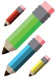 De Potloden van de kleur met rubber stock foto's