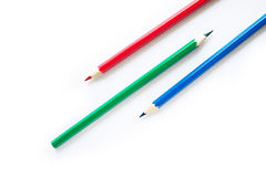 De potloden van de kleur op witte achtergrond Stock Foto's