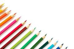 De potloden van de kleur op witte achtergrond Royalty-vrije Stock Foto's