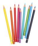 De potloden van de kleur over wit Stock Fotografie