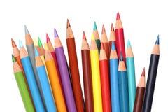 De potloden van de kleur over wit Stock Afbeeldingen