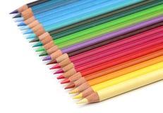 De potloden van de kleur over wit Stock Foto