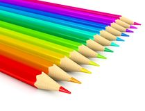 De potloden van de kleur over witte achtergrond Stock Foto