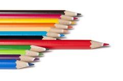 De potloden van de kleur - rode vooruit royalty-vrije stock foto's