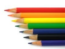 De potloden van de regenboog Stock Fotografie