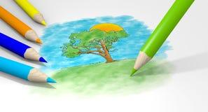 De potloden van de tekening Stock Afbeelding