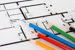 De potloden van het plan en van de kleur Stock Fotografie