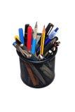 De Potloden van pennen in houder Royalty-vrije Stock Foto
