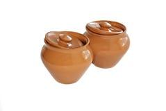 De potten van de klei voor het koken van braadstuk Royalty-vrije Stock Foto