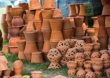 De potten van de kleibloem Stock Fotografie