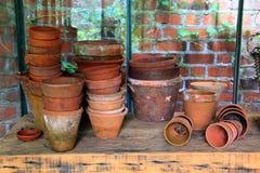 De Potten van de terracottabloem Royalty-vrije Stock Foto's